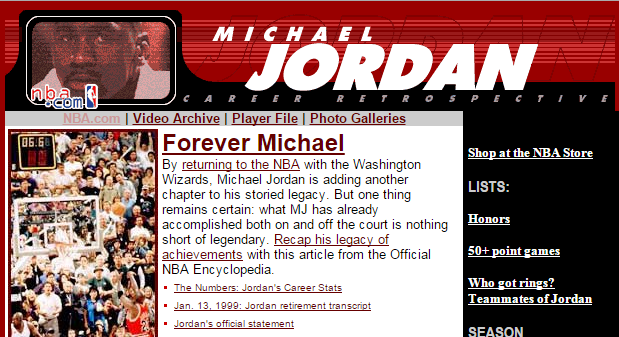 NBA.com Has a Michael Jordan Page They Haven't Updated in 14 Years..