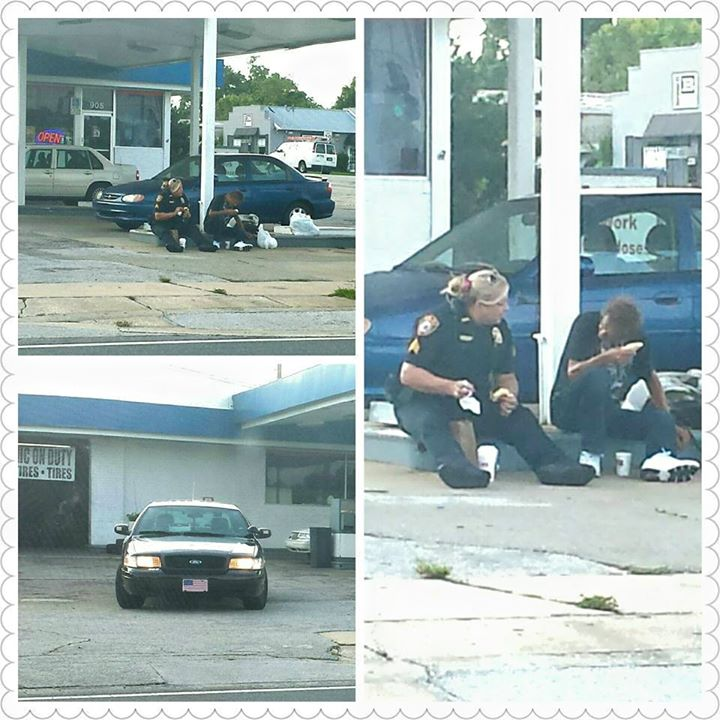Touching pictures show Ocala Police Officer in the act of kindness