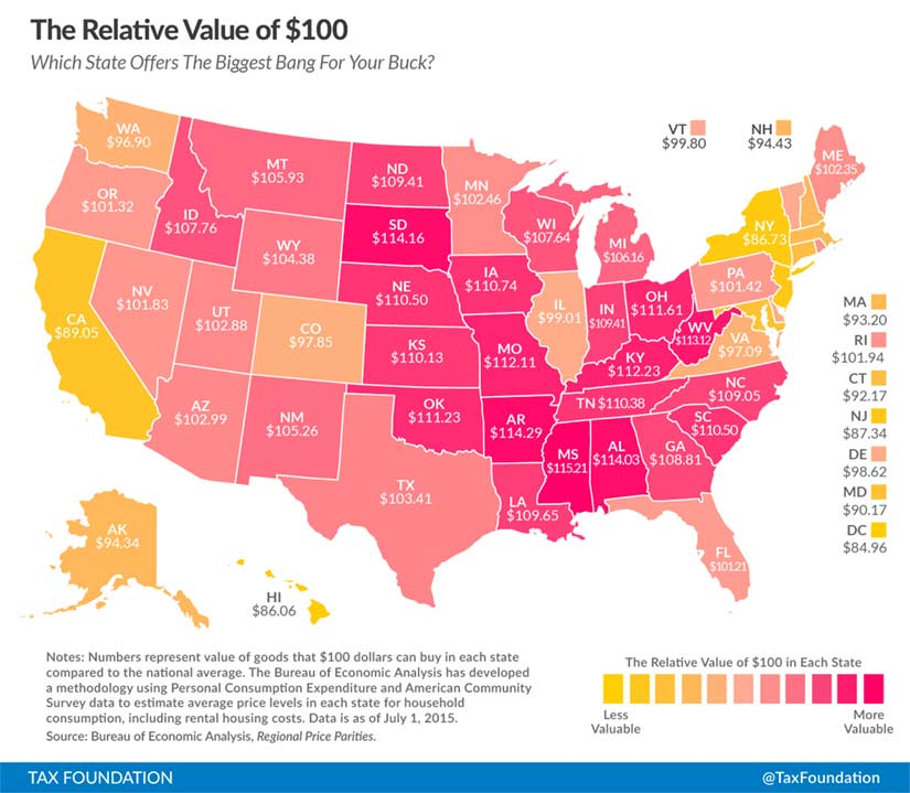 How far does $100 go in your state?